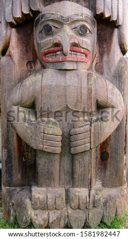 Totems of the city of Victoria in Canada