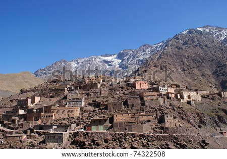 Toubkal National Park very close to the small village of Imlil in the Atlas Mountains, Morocco