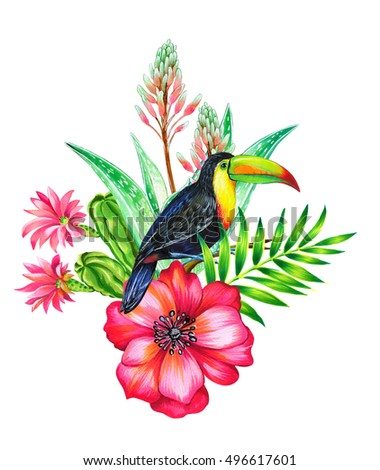 toucan and tropical flowers. Botanical composition with exotic bird.