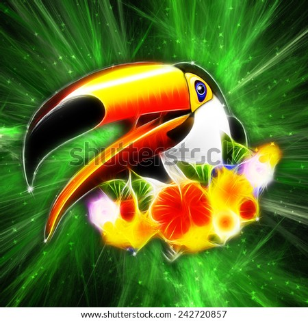 Toucan on Green Galaxy - Digital Art by BluedarkArt