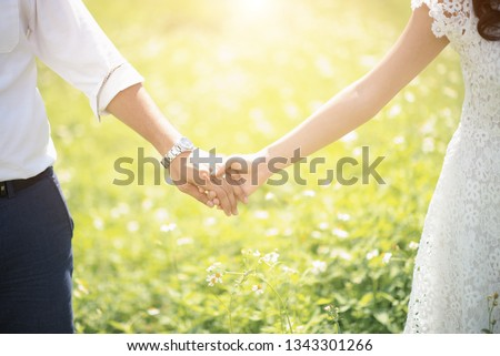 Touch of male and female show the romance of couple