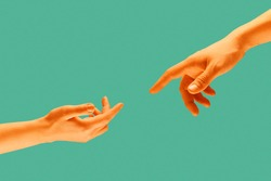 Touch of two hands isolated on light green background. Modern art collage.