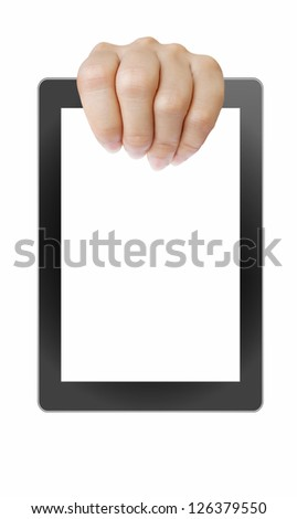 touch pad pc and streaming images buttons on women hand on background white