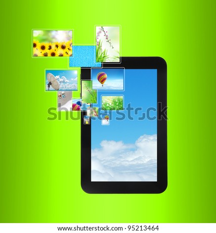 touch pad PC with streaming images on green