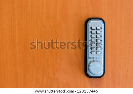 touch panel to activate the door lock - stock photo