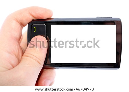Touch phone turned for photographing in a man's hand isolated on white background