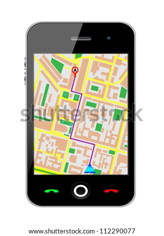 Touch screen cellphone gps. Vector version also available in my portfolio.