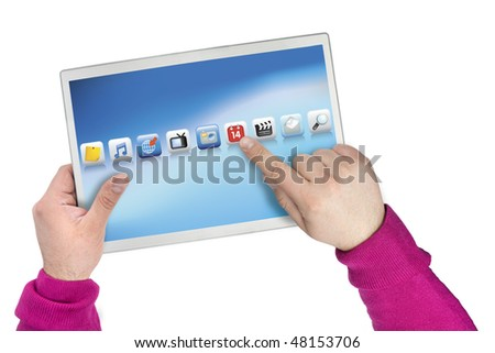 Touch screen computer created from all original photographs and renders to create an original copyright free product.