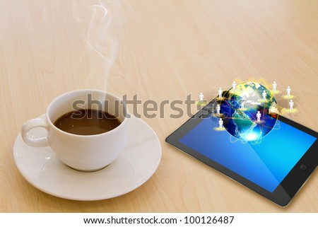 Touch screen device and cup of coffee