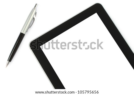 Touch screen device and pen on white background