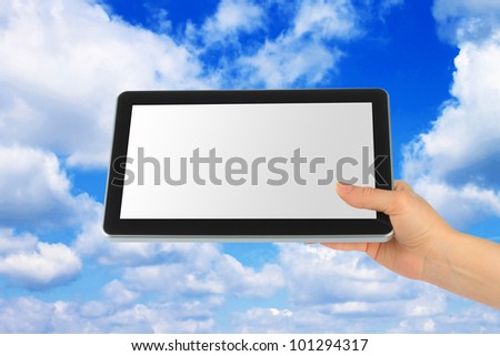 Touch screen device with blue sky in woman hand on white background