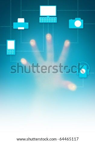 Touch-screen digital interface with icons of connected electronic devices