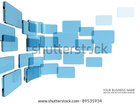 touch screen interface blue glass