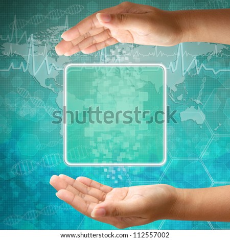 Touch screen interface on Woman hand ,background medical - stock photo