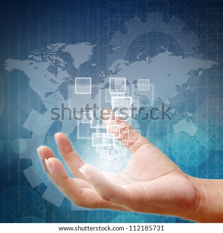 Touch screen interface on Woman hand business in background blue color