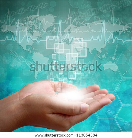 Touch screen interface on Woman hand on background medical