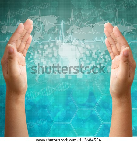 Touch screen interface on Woman hand on medical background