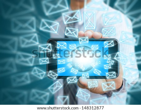 Touch screen mobile phone and email icons - stock photo