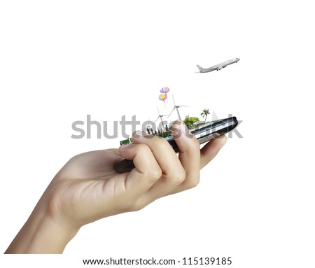 Touch screen mobile phone, in hand
