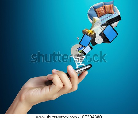 Touch screen mobile phone, in hand and globes