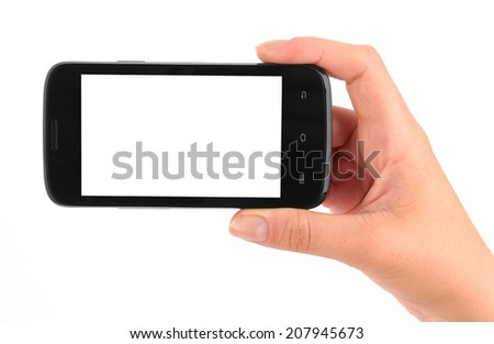 Touch screen mobile phone in hand isolated on white background  #207945673