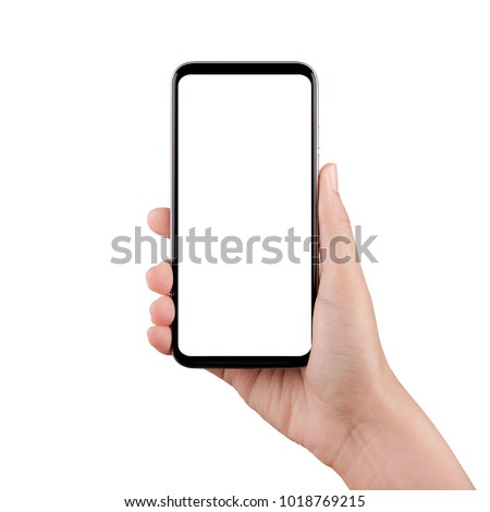 Touch screen mobile phone, in hand with clipping path