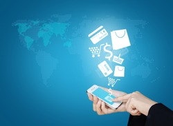 Touch screen mobile phone to display business icon and technology, Design concept of technology information and e-commerce
