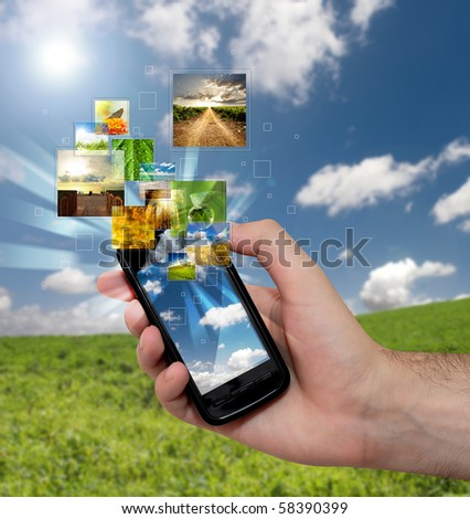 Touch screen mobile phone with streaming images