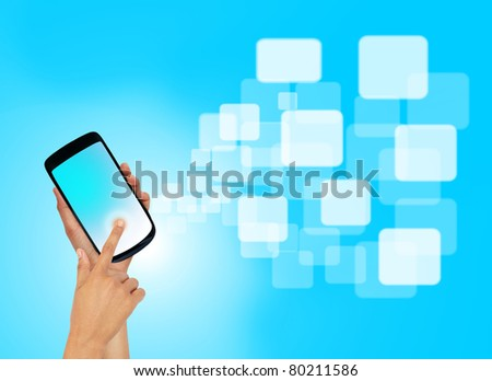 Touch screen mobile phone with streaming images.