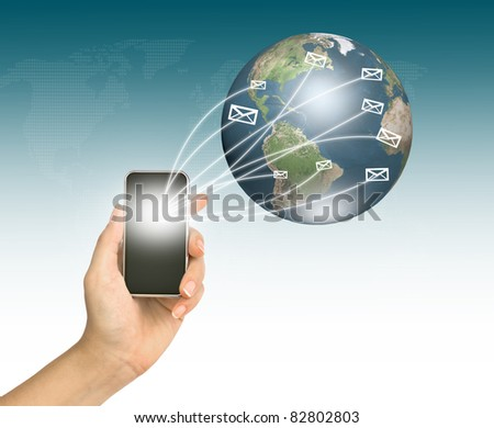 Touch screen mobile phone with streaming of mail