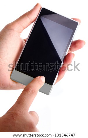 Touch screen smart phone with blank display in hand over white