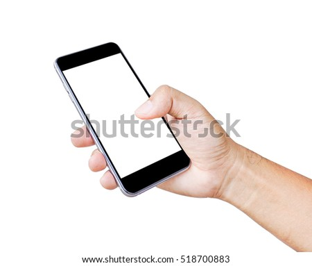 Touch screen smartphone, in a hand