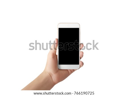 Touch screen smartphone in  a hand #766190725