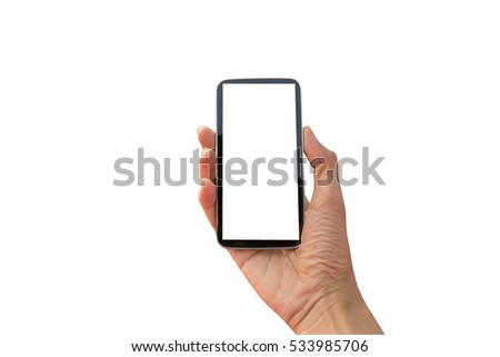 Touch screen smartphone in hand #533985706