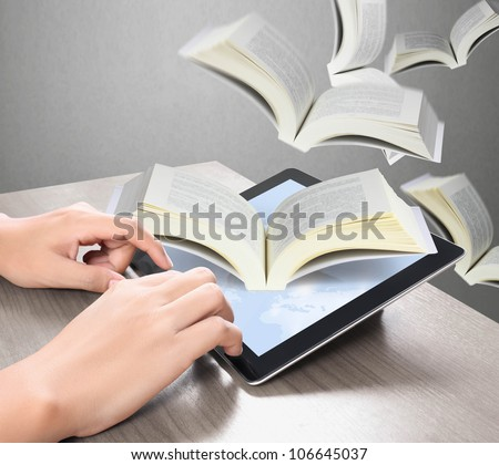 touch screen tablet and Books on tablet