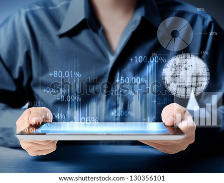 touch screen tablet and shows tablet in hand With graph