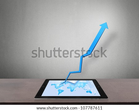 touch screen tablet and shows tablet With graph
