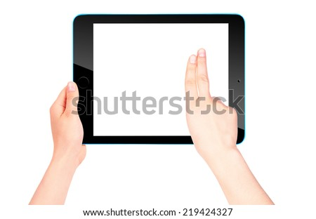 Touch screen tablet computer with blank screen and woman hand isolated #219424327
