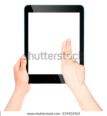 Touch screen tablet computer with blank screen and woman hand isolated #219424363