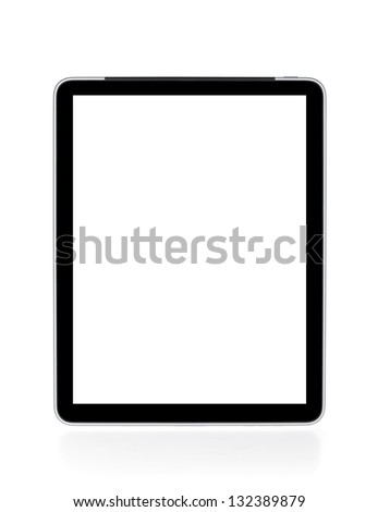Touch screen tablet computer with white background. Isolated on white