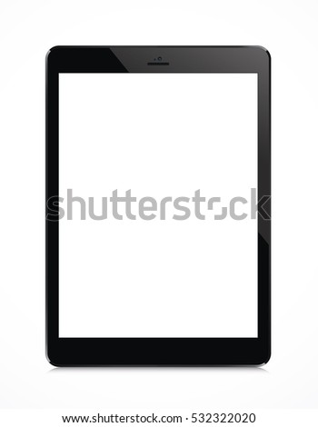 Touch screen tablet in iPad style with blank screen area for copy space.
