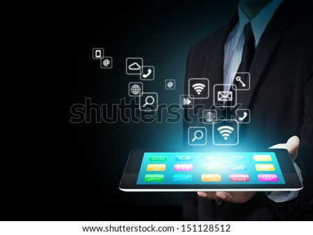 Touch screen tablet with cloud of colorful application icons