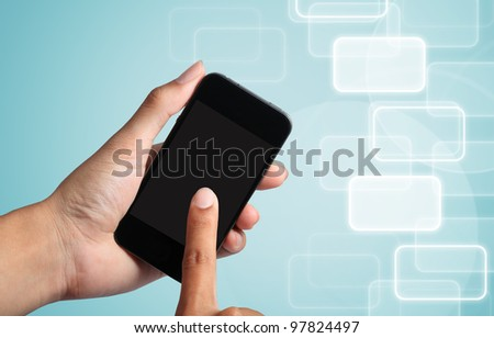 touch screen to smart phone with social network background.