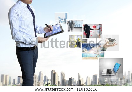 touch screen ,touch- tablet in hand