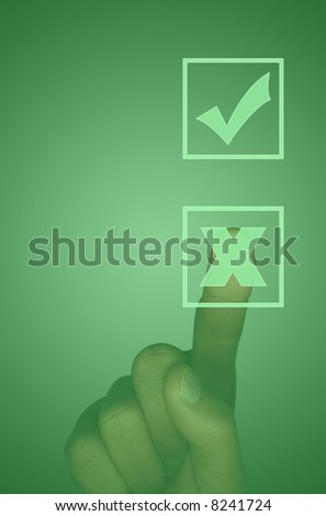 Touch screen with tick box, cross box and finger selecting the cross (illustration)