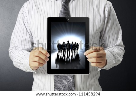 touch-tablet in hand and show tablet