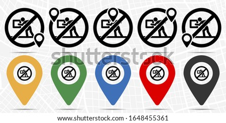 Touching a person touches icon in location set. Simple glyph, flat illustration element of universal theme icons on the background of a light map
