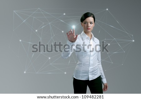 Touching button social network future interface, Businesswoman pressing light point push trigger in wireframe. Social network concept. Future collection series.
