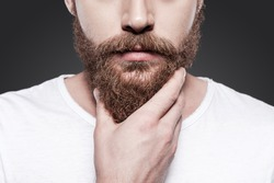 Touching his perfect beard. Close-up of young bearded man touching his beard while standing against grey background