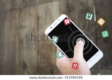 Touching smart phone apps